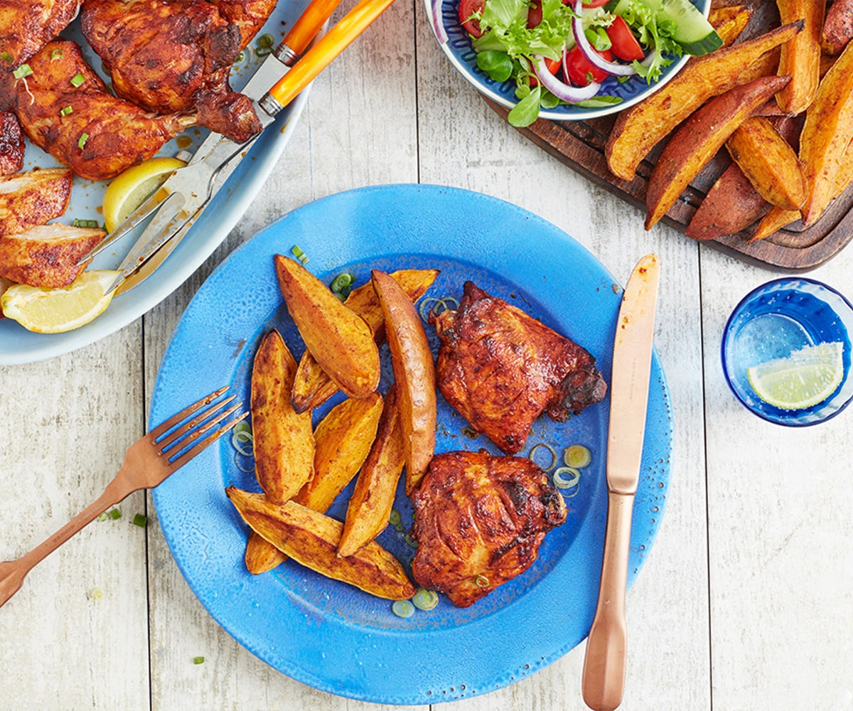 BBQ Tandoori Chicken with Sweet Potato Wedges