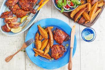 BBQ Tandoori Chicken with Sweet Potato Wedges