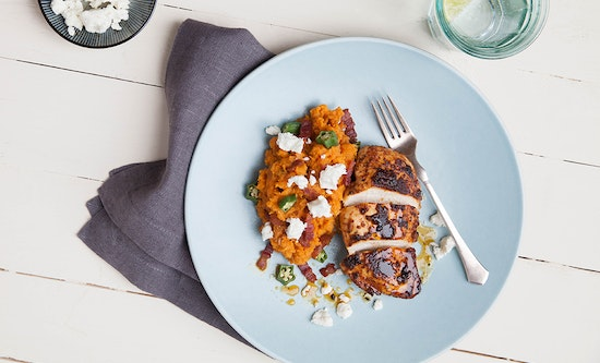 Cajun Chicken with Red Pepper Sweet Potato Mash